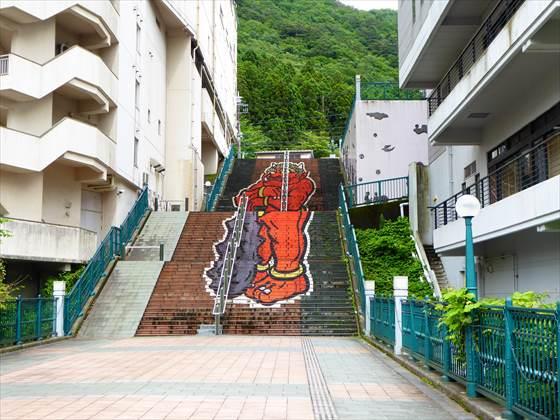 鬼のイラストの階段