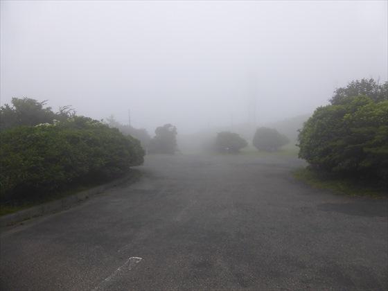 遠くまで霧で白い道
