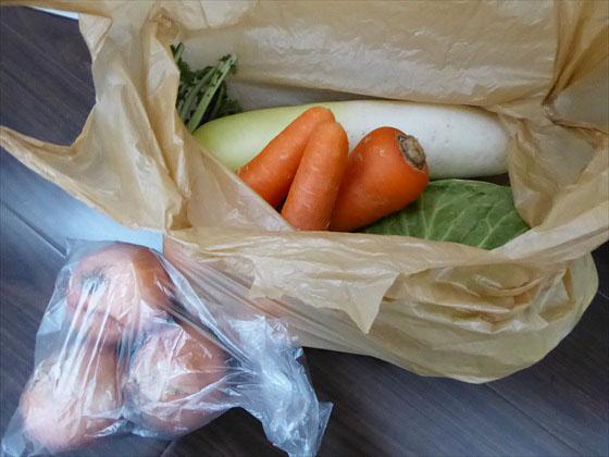 旦那さんが買ってきた野菜