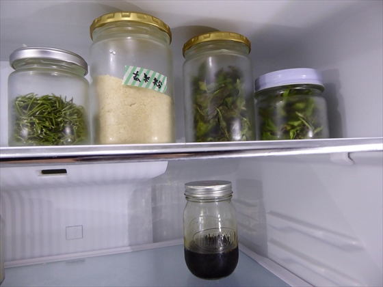 冷蔵庫に保存している長期保存用のハーブ