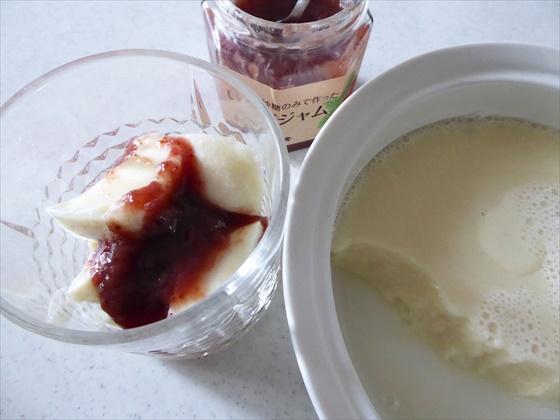 豆乳寒天と苺ジャム