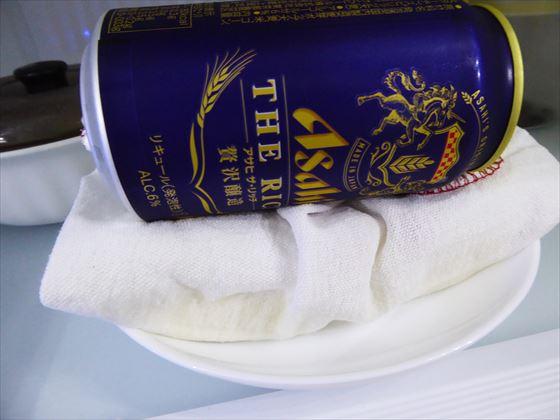 ビールで重しした豆腐