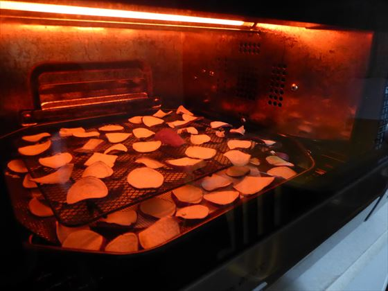 トースターで焼いているところ