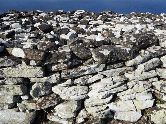 宇江城城跡内の様子、石の壁の色合い