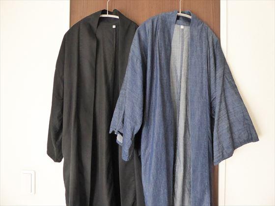 黒とデニム生地の羽織