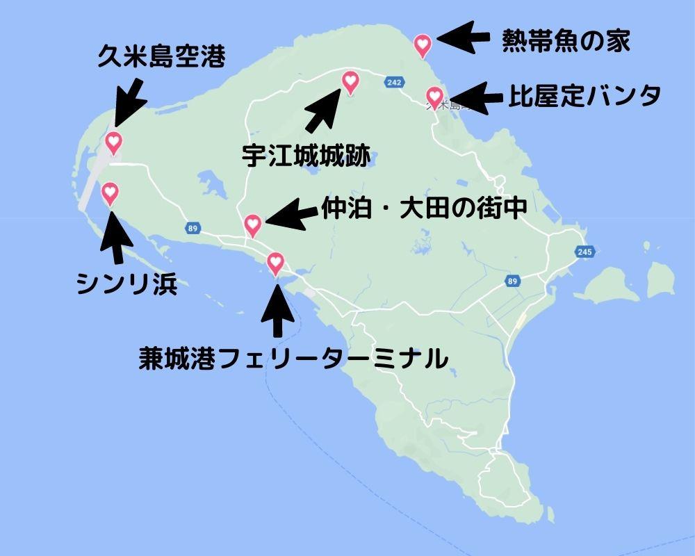 各観光地の場所を記した地図