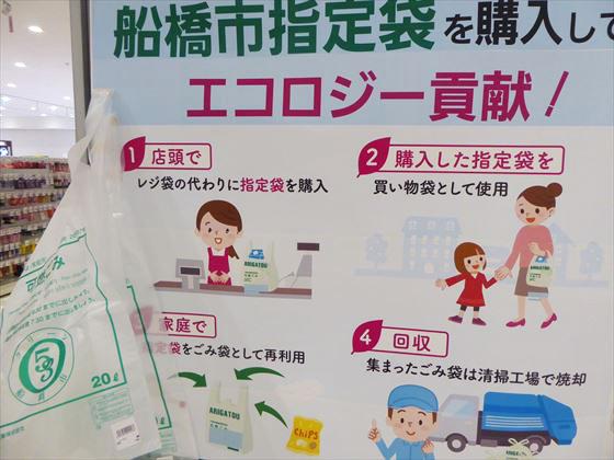 レジ袋の代わりに指定ごみ袋を購入できる説明が書かれた看板