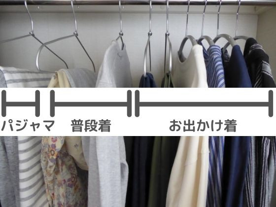 2021年春の服、左からパジャマ、普段着、お出かけ着
