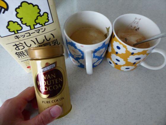 2人分のコーヒーとピュアココアと豆乳のパック