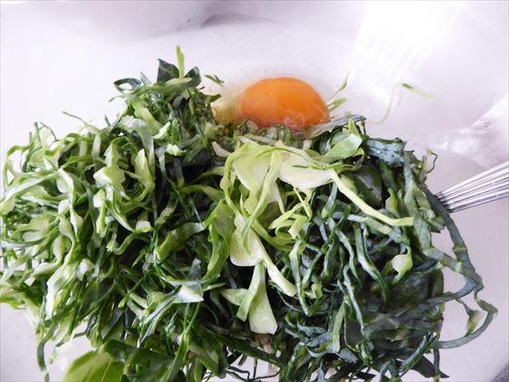ふやかしたオートミールにキャベツと卵を入れたところ