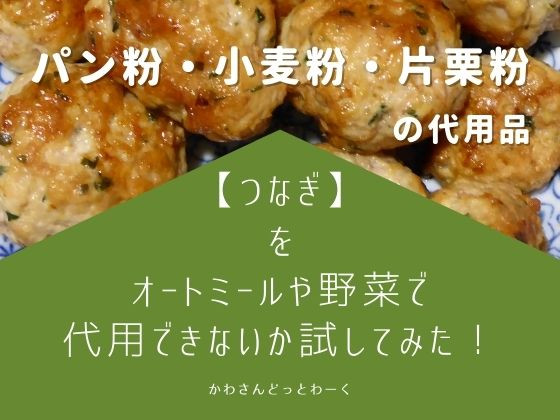 【つなぎ編】パン粉・小麦粉・片栗粉をオートミールや野菜で代用できるか試してみた。