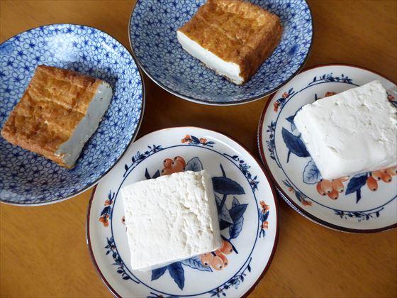 皿に盛った豆腐と厚揚げ