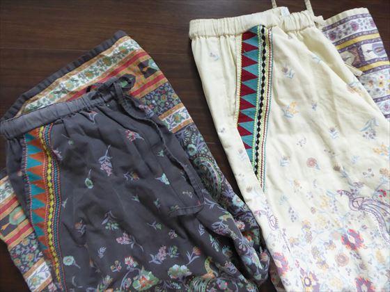 黒とベージュのエスニック柄パンツ